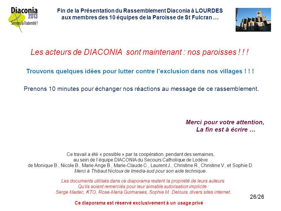Les acteurs de DIACONIA sont maintenant : nos paroisses ! ! !