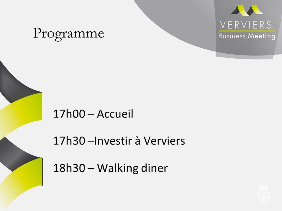 Programme 17h00 – Accueil 17h30 –Investir à Verviers