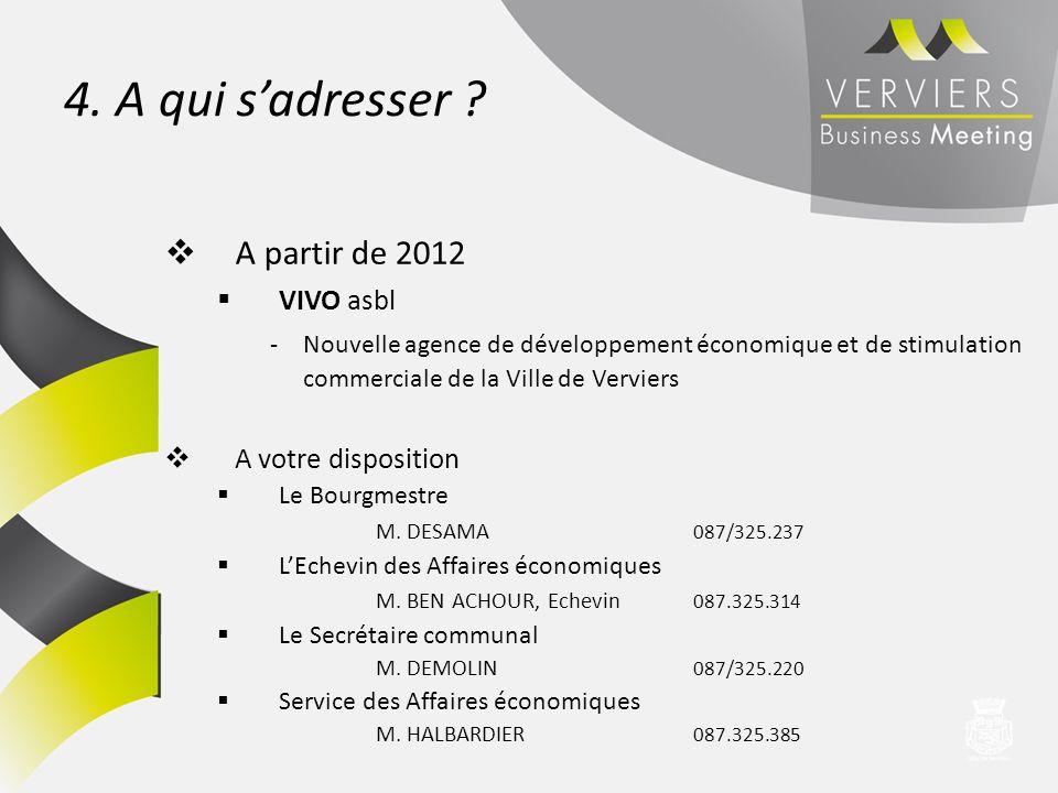 4. A qui s'adresser A partir de 2012 VIVO asbl A votre disposition