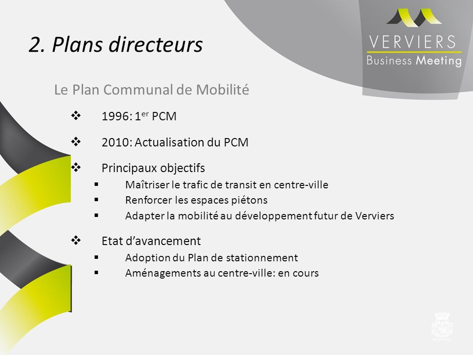 2. Plans directeurs Le Plan Communal de Mobilité 1996: 1er PCM