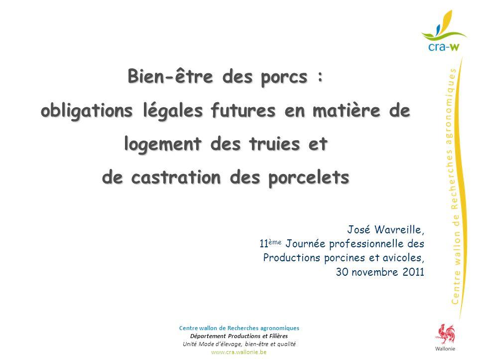 obligations légales futures en matière de logement des truies et