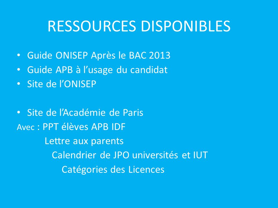 RESSOURCES DISPONIBLES