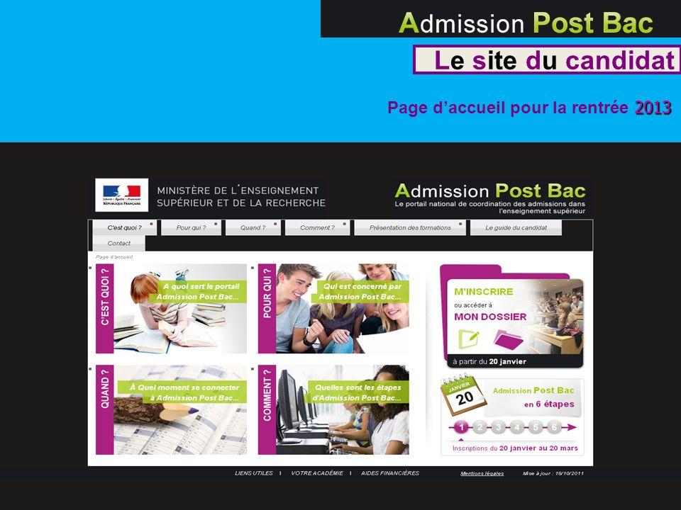 Le site du candidat Page d'accueil pour la rentrée 2013 7