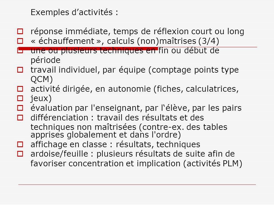 Exemples d'activités :