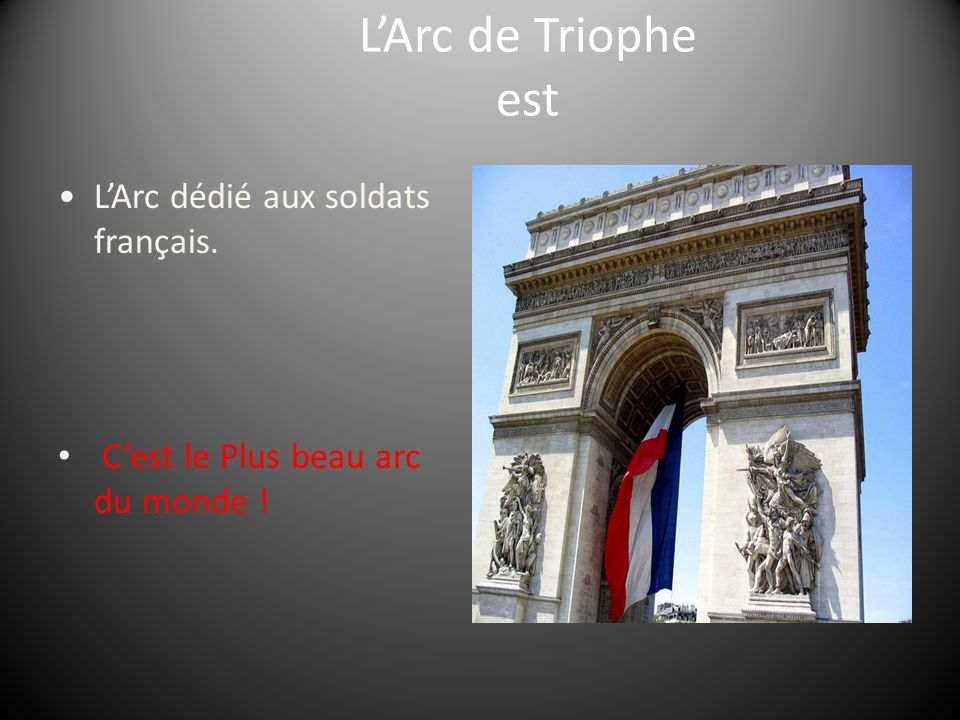 L'Arc de Triophe est • L'Arc dédié aux soldats français.
