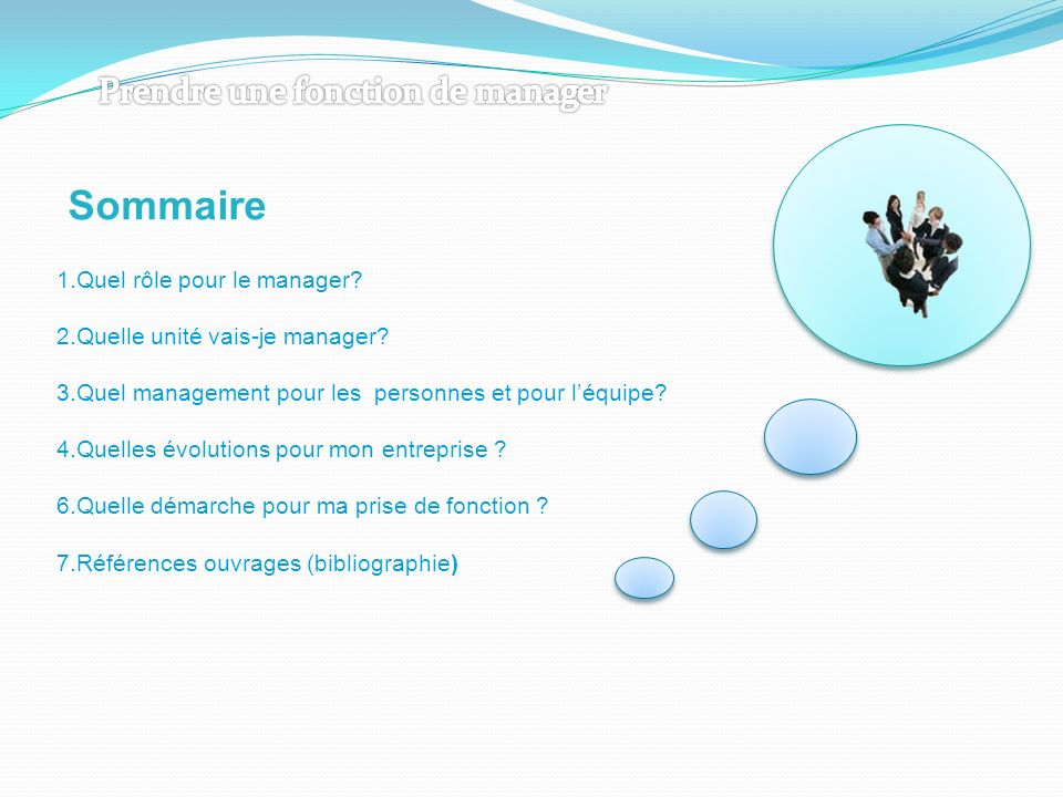 Sommaire Prendre une fonction de manager 1.Quel rôle pour le manager