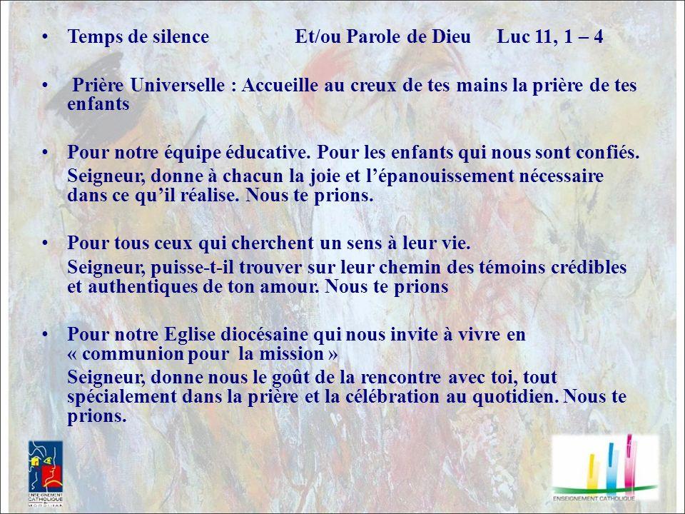 Temps de silence Et/ou Parole de Dieu Luc 11, 1 – 4
