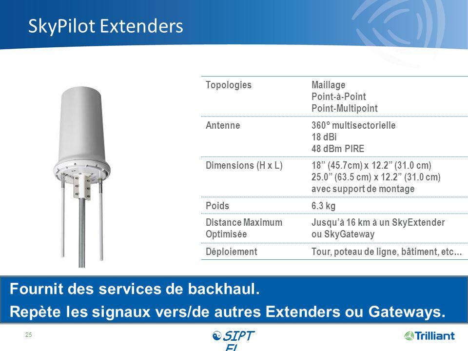 SkyPilot Extenders Fournit des services de backhaul.