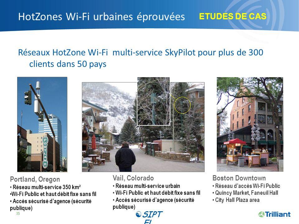 HotZones Wi-Fi urbaines éprouvées