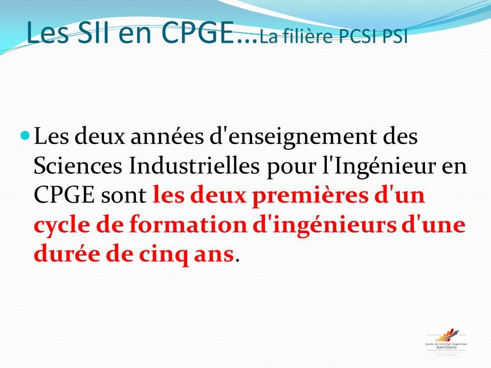Les SII en CPGE…La filière PCSI PSI