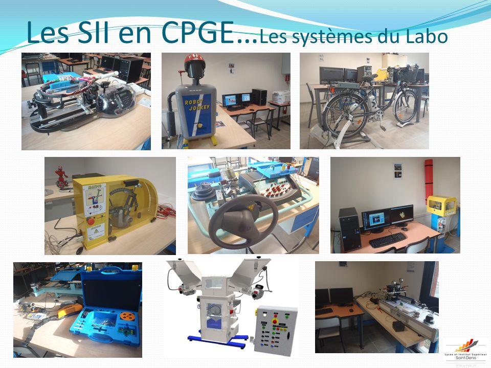 Les SII en CPGE…Les systèmes du Labo