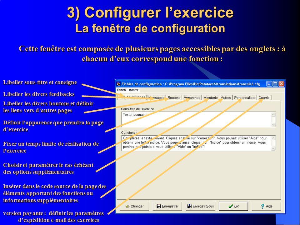 3) Configurer l'exercice La fenêtre de configuration