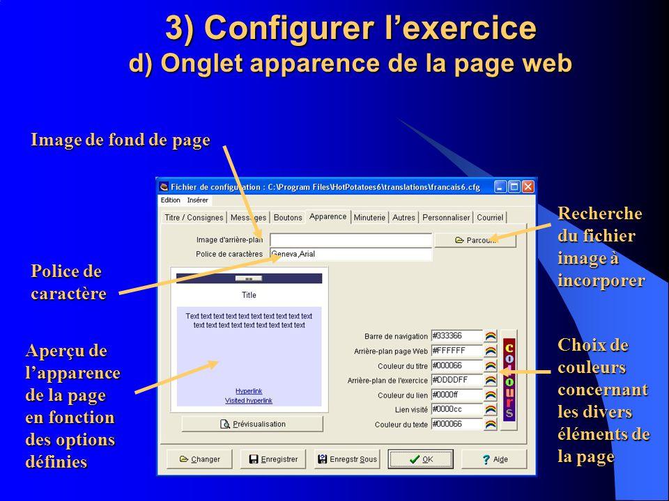 3) Configurer l'exercice d) Onglet apparence de la page web