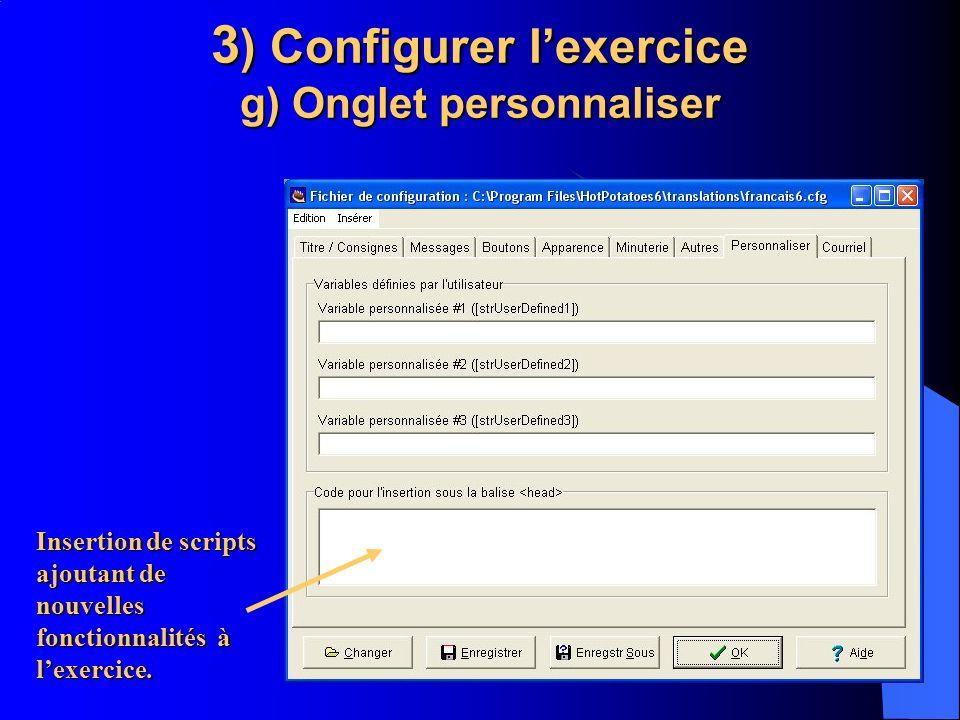 3) Configurer l'exercice g) Onglet personnaliser
