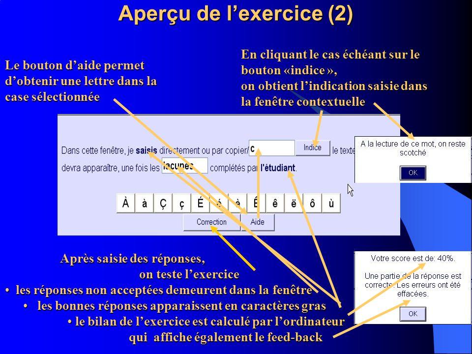 Aperçu de l'exercice (2)