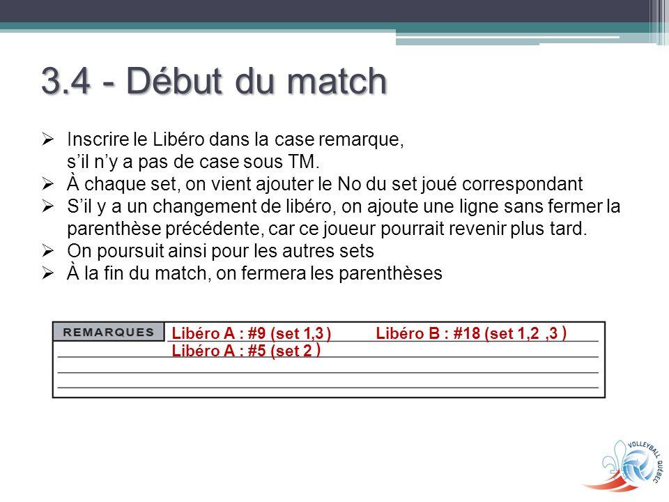 3.4 - Début du match Inscrire le Libéro dans la case remarque, s'il n'y a pas de case sous TM.