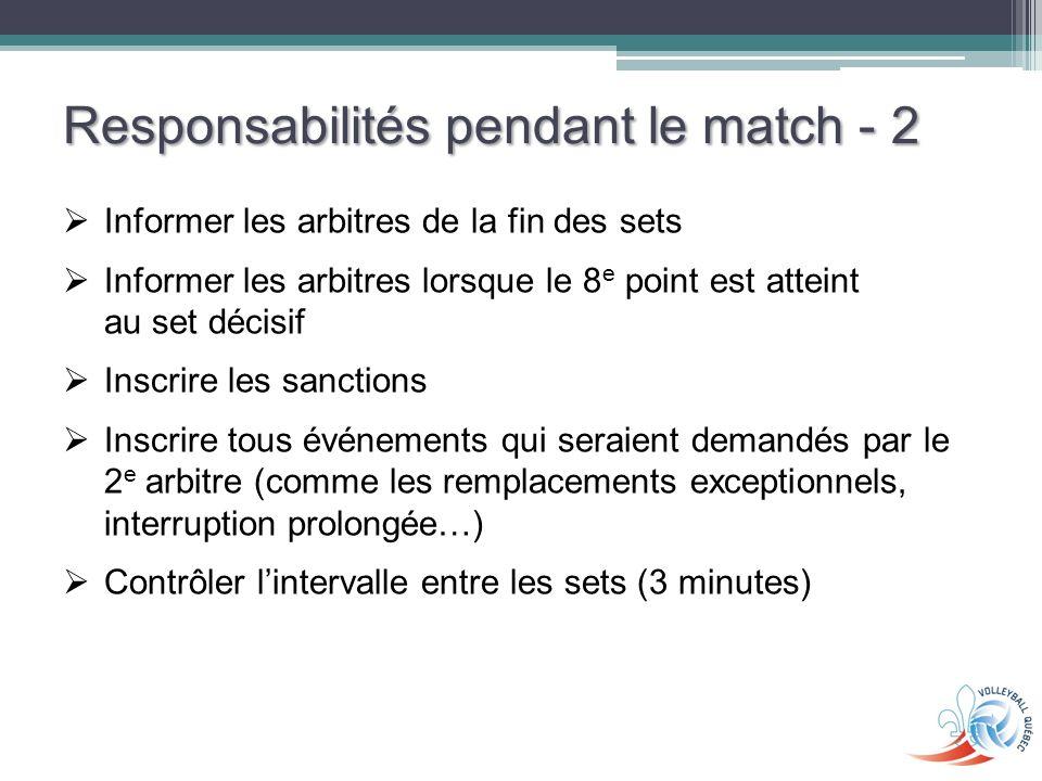 Responsabilités pendant le match - 2