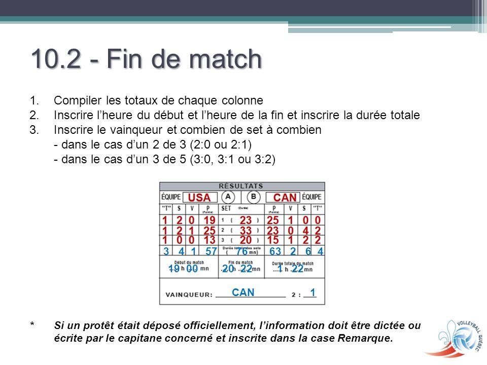 10.2 - Fin de match Compiler les totaux de chaque colonne