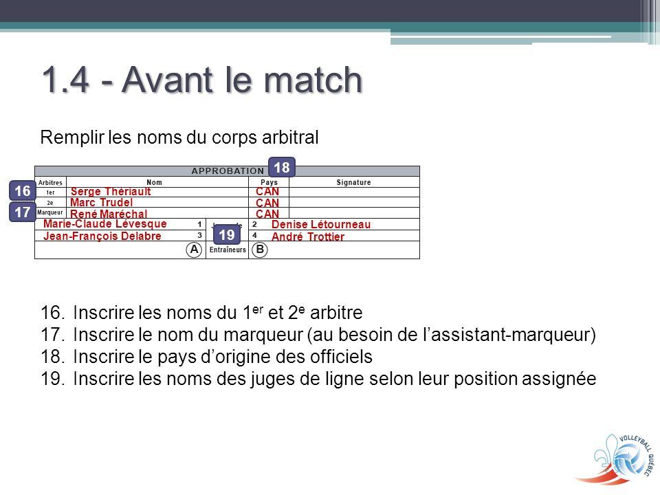 1.4 - Avant le match Remplir les noms du corps arbitral