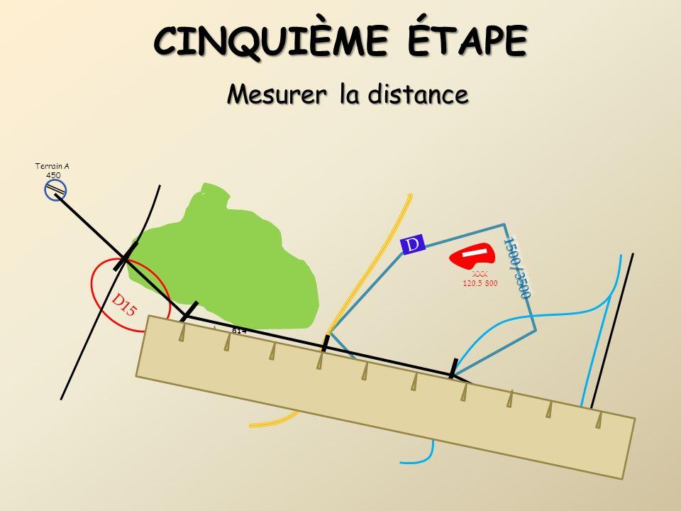 Cinquième étape Mesurer la distance D D15 1500/3500 Terrain A 450 XXX