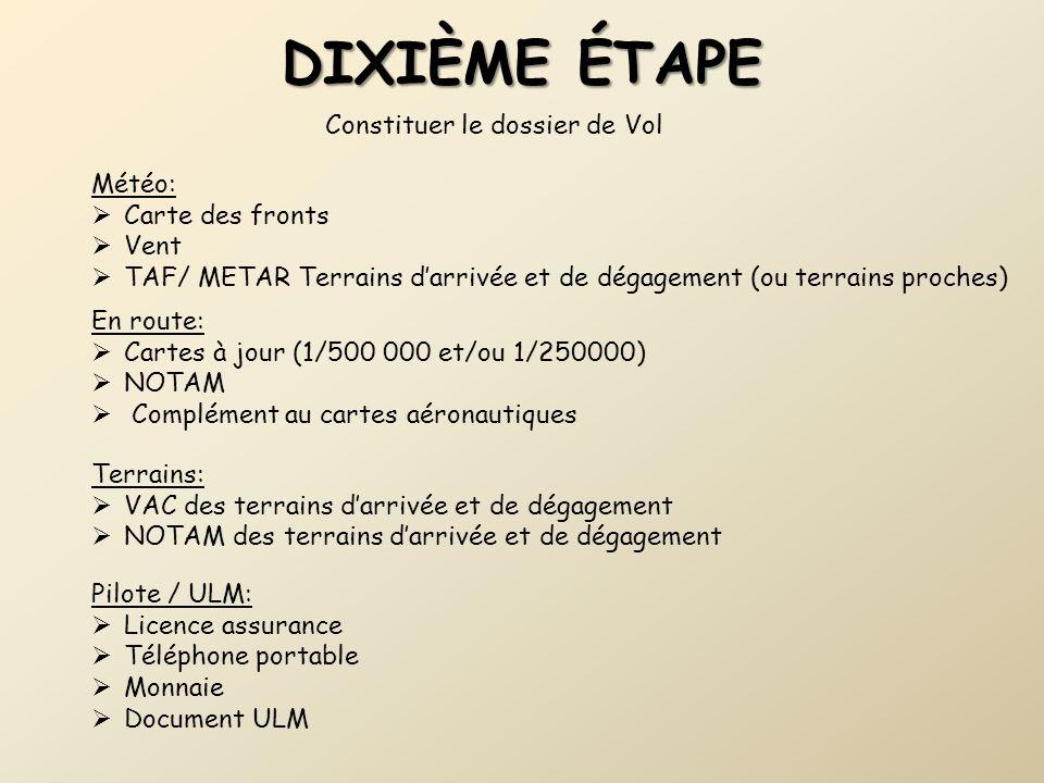 DIXIèME étape Constituer le dossier de Vol Météo: Carte des fronts