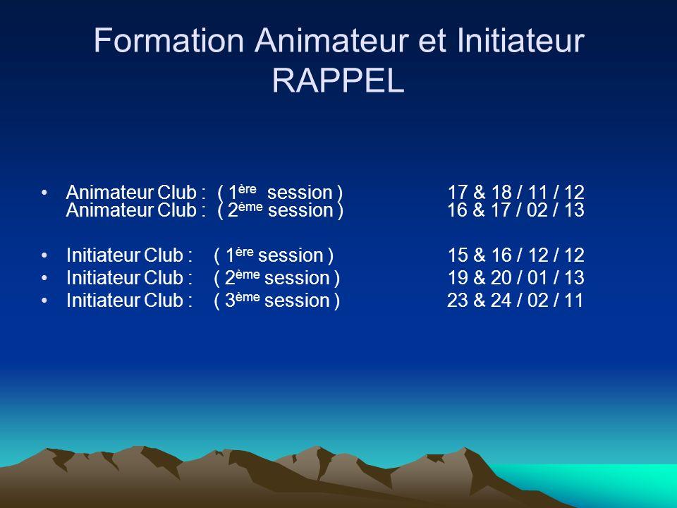 Formation Animateur et Initiateur RAPPEL
