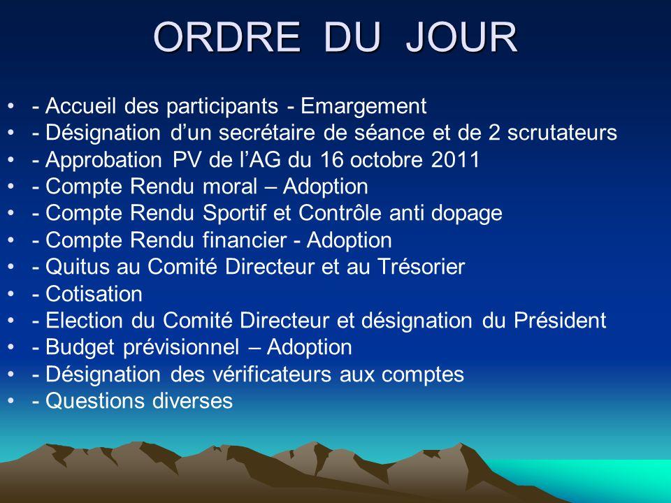 ORDRE DU JOUR - Accueil des participants - Emargement