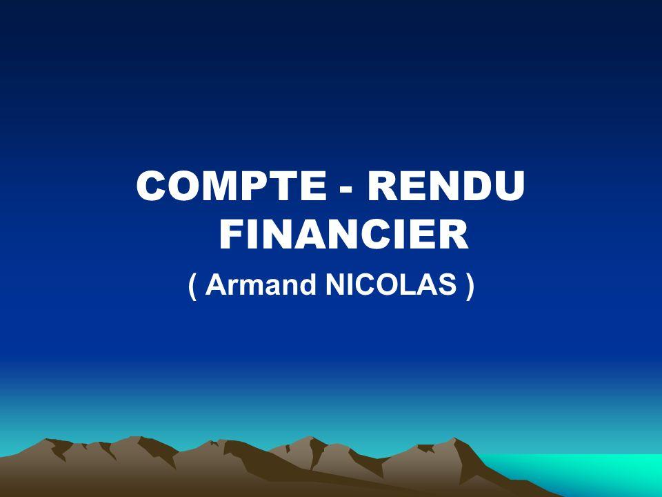 COMPTE - RENDU FINANCIER