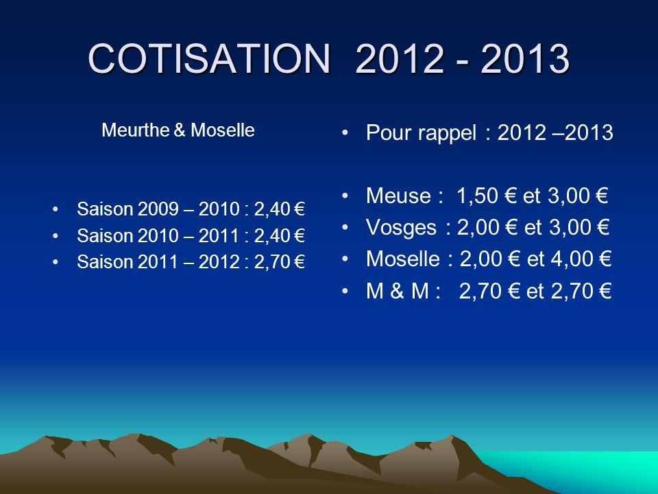 COTISATION 2012 - 2013 Pour rappel : 2012 –2013