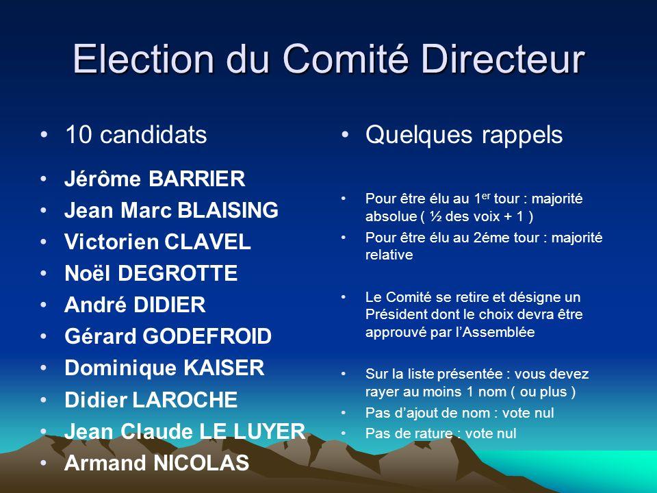 Election du Comité Directeur