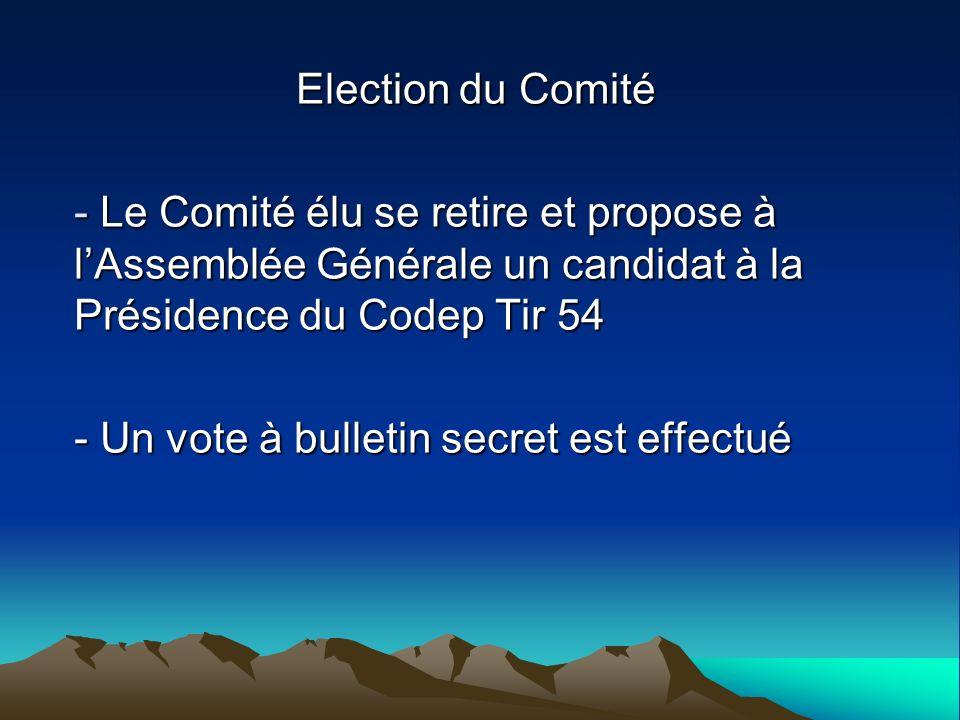 Election du Comité Le Comité élu se retire et propose à l'Assemblée Générale un candidat à la Présidence du Codep Tir 54.