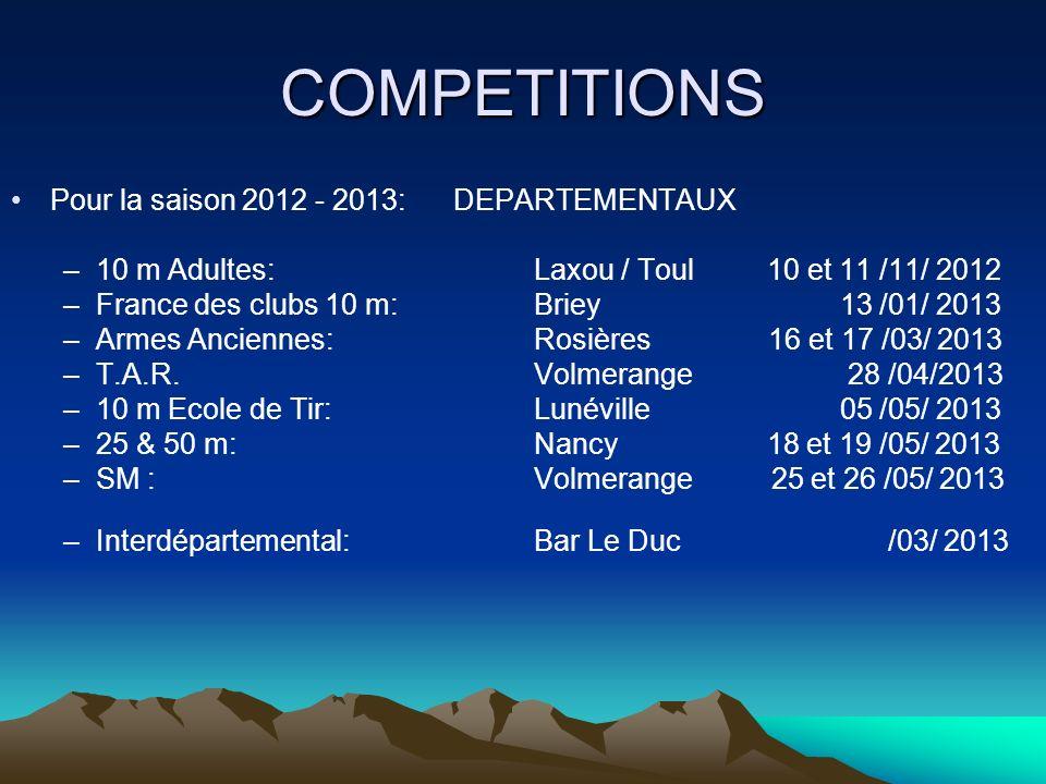 COMPETITIONS Pour la saison 2012 - 2013: DEPARTEMENTAUX