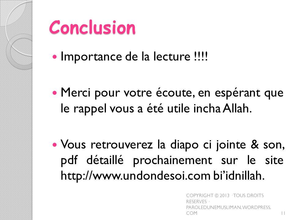 Conclusion Importance de la lecture !!!!