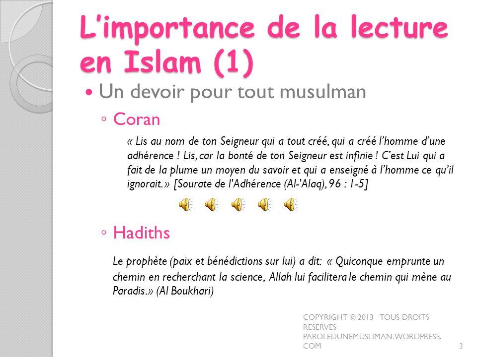 L'importance de la lecture en Islam (1)