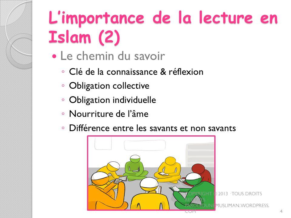 L'importance de la lecture en Islam (2)