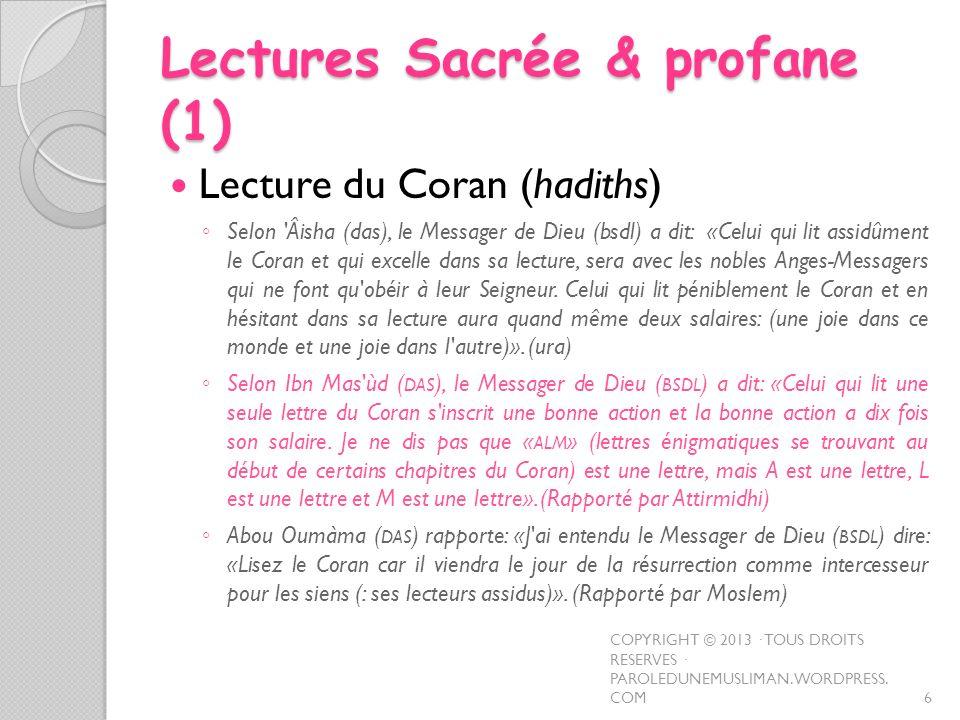 Lectures Sacrée & profane (1)