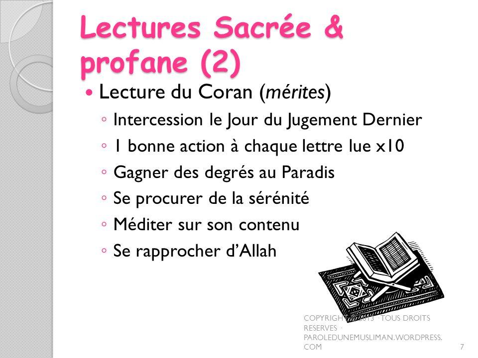 Lectures Sacrée & profane (2)