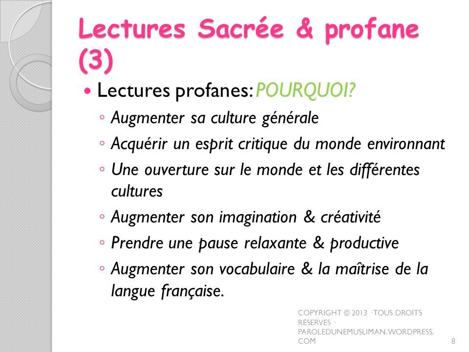 Lectures Sacrée & profane (3)