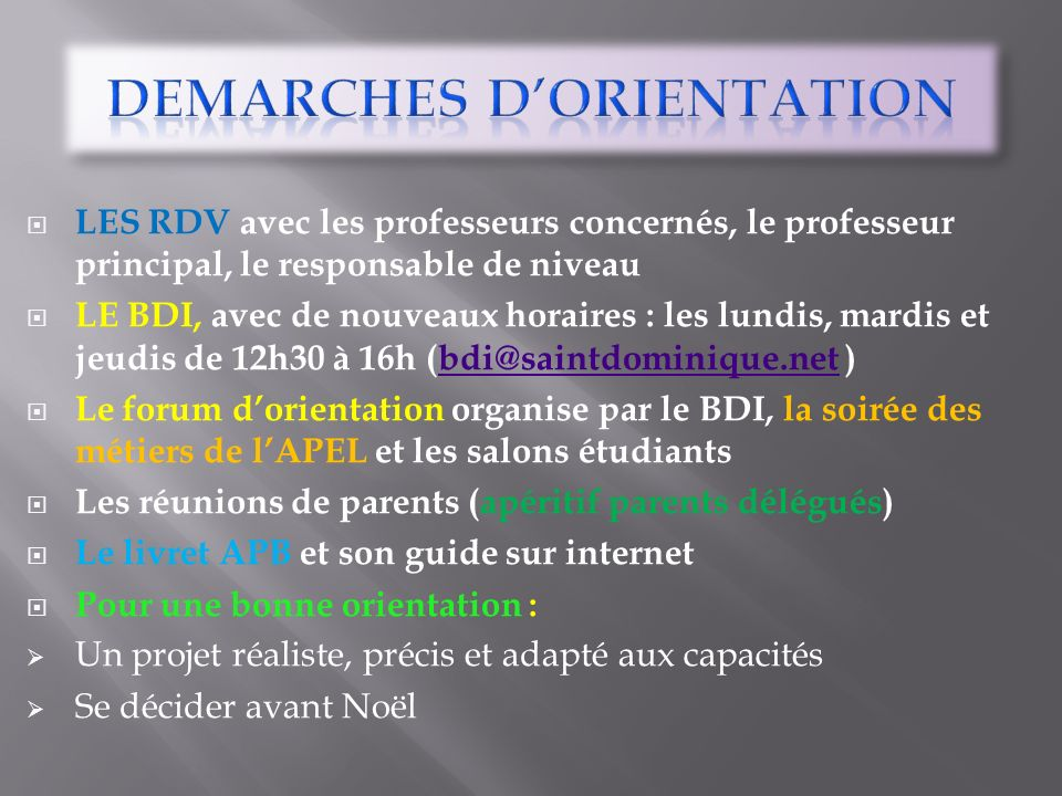 DEMARCHES D'ORIENTATION