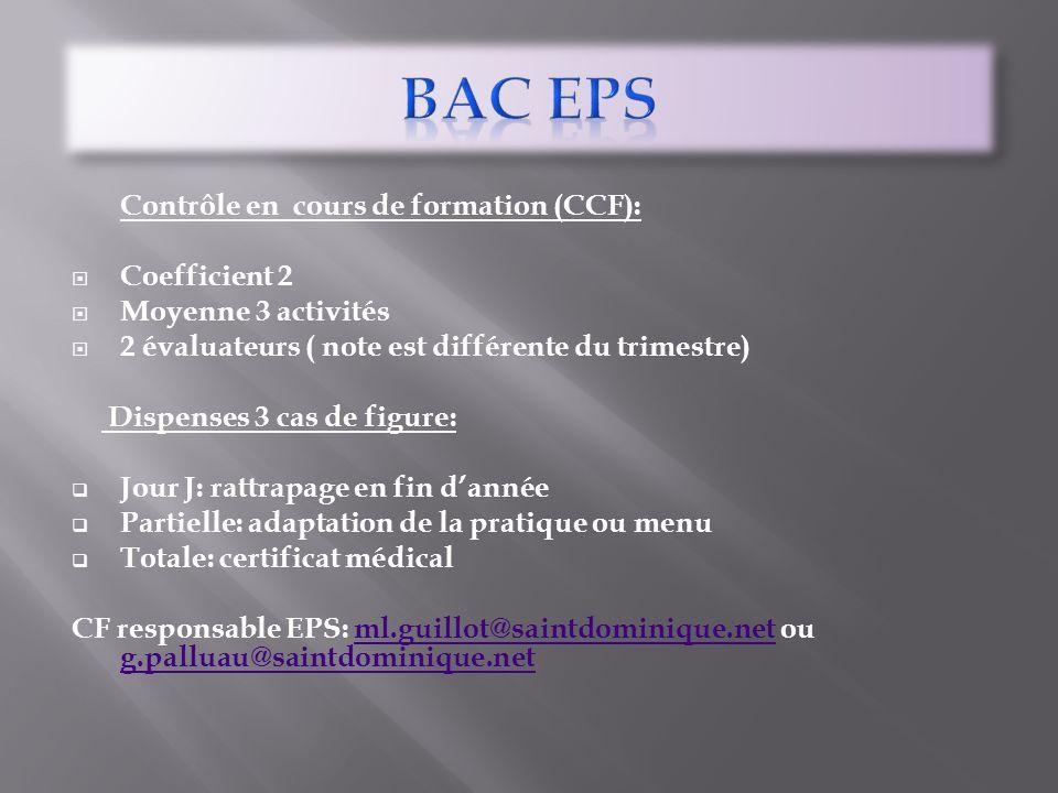 BAC EPS Coefficient 2 Moyenne 3 activités
