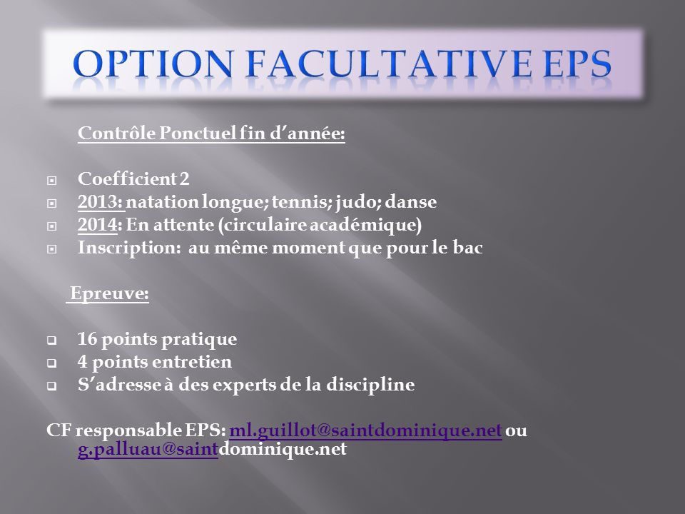 Option FACULTATIVE EPS