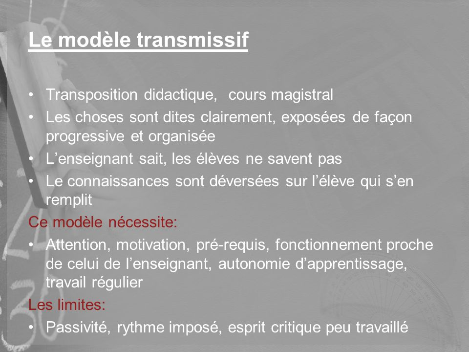 Le modèle transmissif Transposition didactique, cours magistral