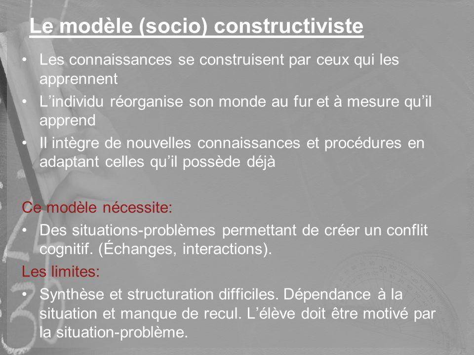 Le modèle (socio) constructiviste