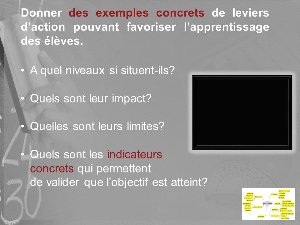 Donner des exemples concrets de leviers d'action pouvant favoriser l'apprentissage des élèves.