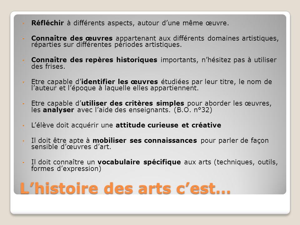 L'histoire des arts c'est…