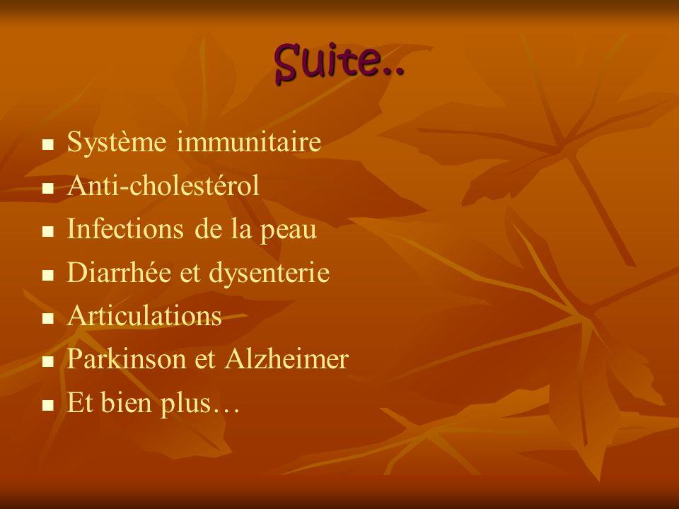 Suite.. Système immunitaire Anti-cholestérol Infections de la peau