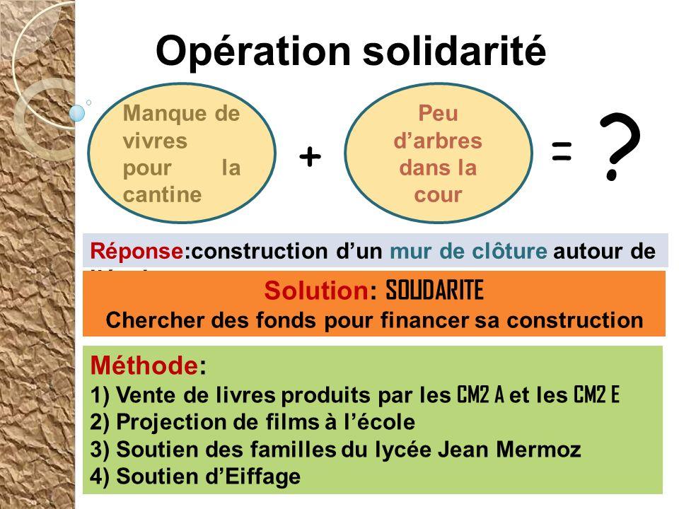 = + Opération solidarité Solution: SOLIDARITE Méthode:
