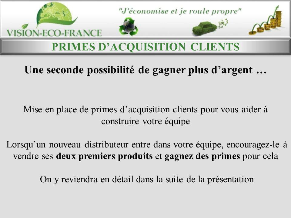 PRIMES D'ACQUISITION CLIENTS