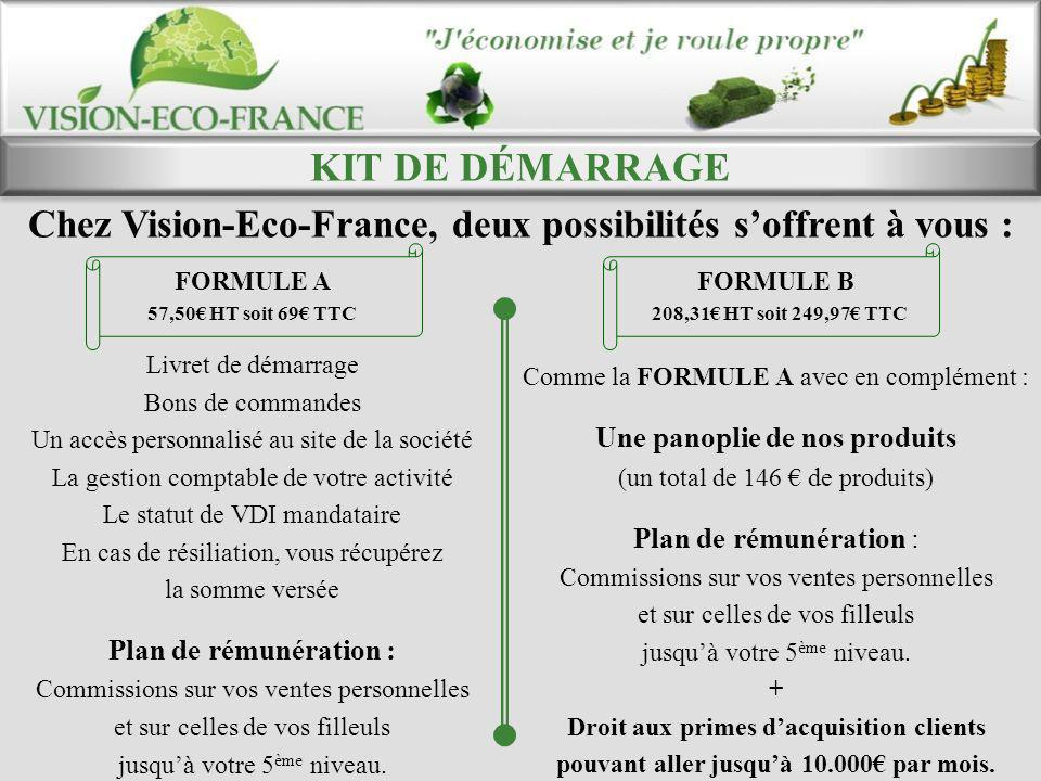 KIT DE DÉMARRAGE Chez Vision-Eco-France, deux possibilités s'offrent à vous : FORMULE A. 57,50€ HT soit 69€ TTC.