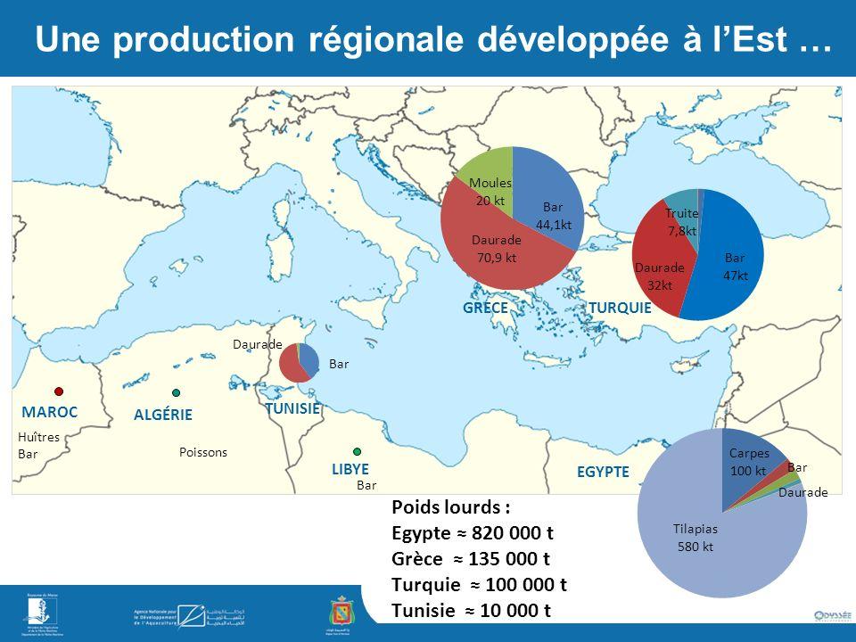 Une production régionale développée à l'Est …